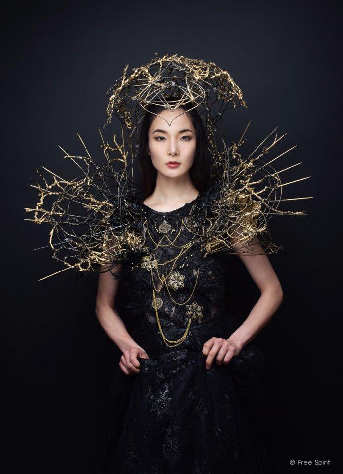 Blue Shadow Fine Art photographer and Creative Director Free Spirit Fashion photography fashion Fraise au Loup crown queen black dress