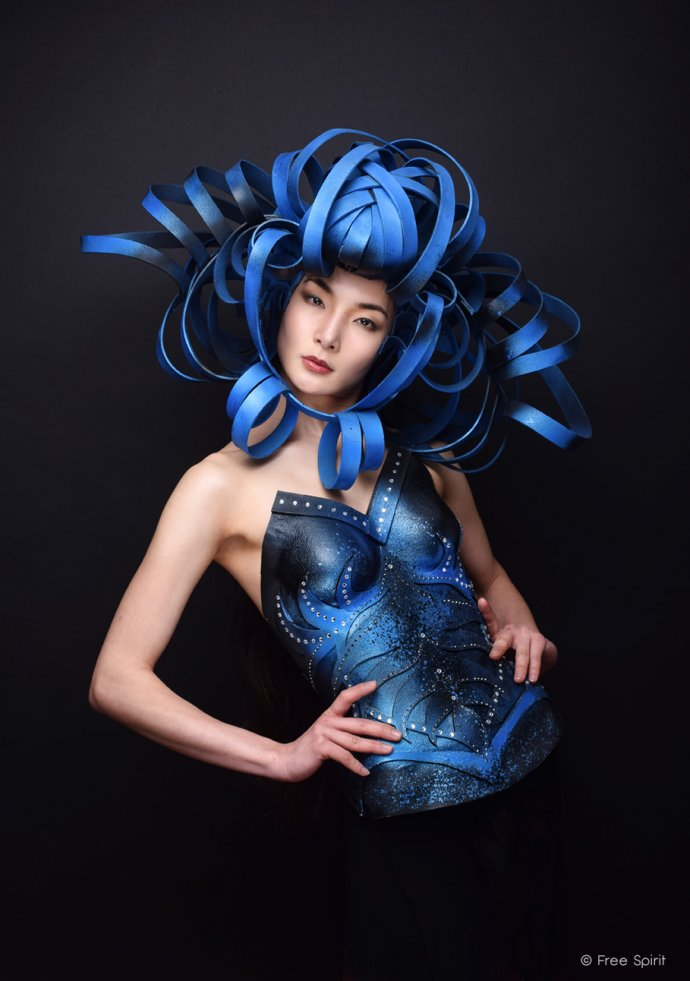 Blue Shadow Fine Art photographer and Creative Director Free Spirit Fashion photography fashion Fraise au Loup avant garde fashion armor blue