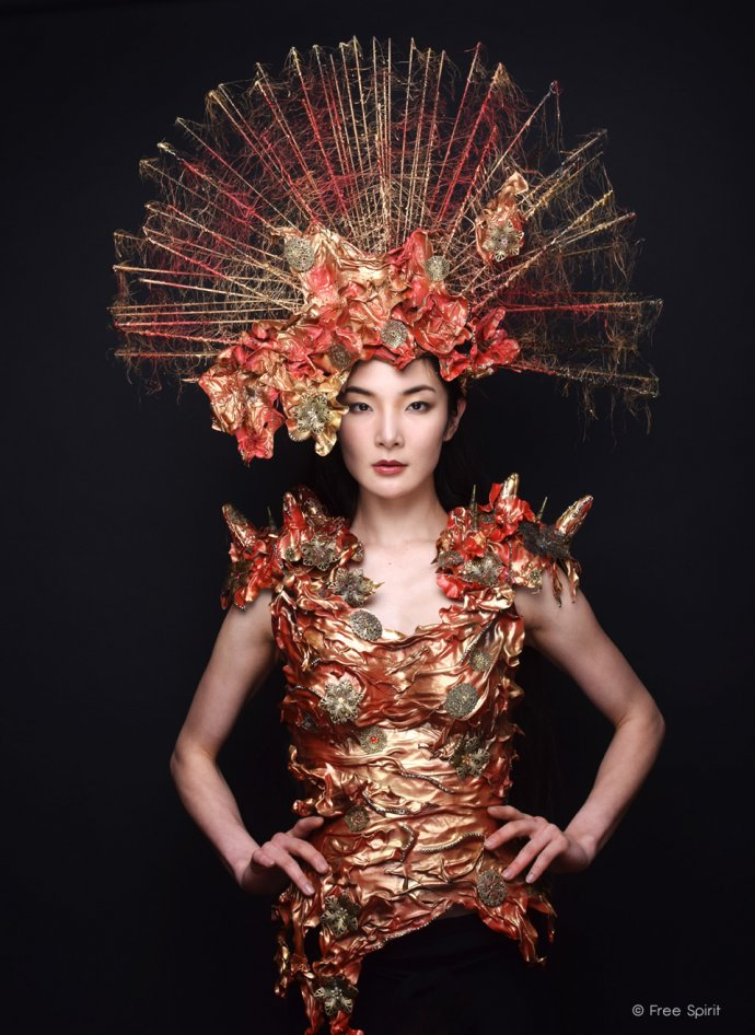 Blue Shadow Fine Art photographer and Creative Director Free Spirit Fashion photography fashion Fraise au Loup japanese model headpiece red armor worbla