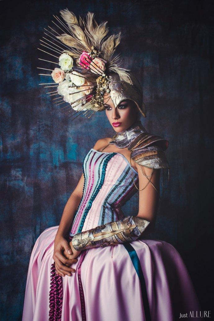 Blue Shadow Fine Art photographer and Creative Director Free Spirit Miss France historical dress headpiece