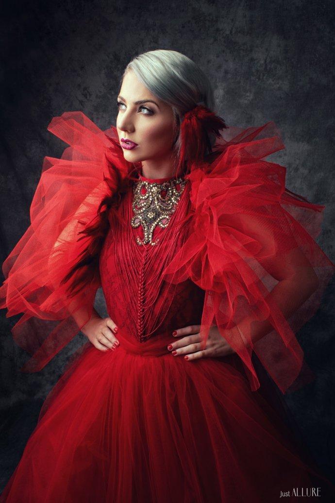 Blue Shadow Fine Art photographer and Creative Director Free Spirit Fashion photography fashion Fraise au Loup Red dress Fairytas