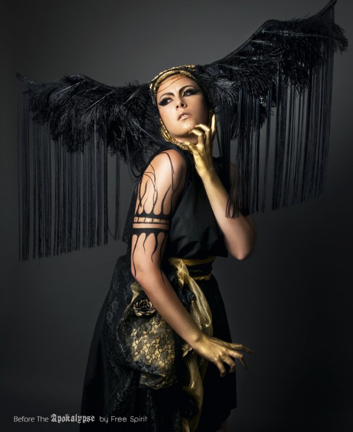 Blue Shadow Fine Art photographer and Creative Director Free Spirit headpiece feathers black dress golden skin