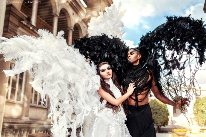 Ailes d'anges costume photographe Free Spirit Blue Shadow feathers costume angels