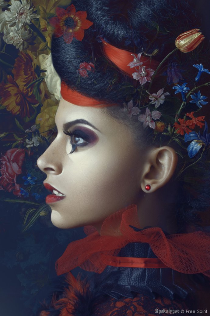 Free Spirit Blue Shadow Apokalypse afro hair métisse mixed woman painting style