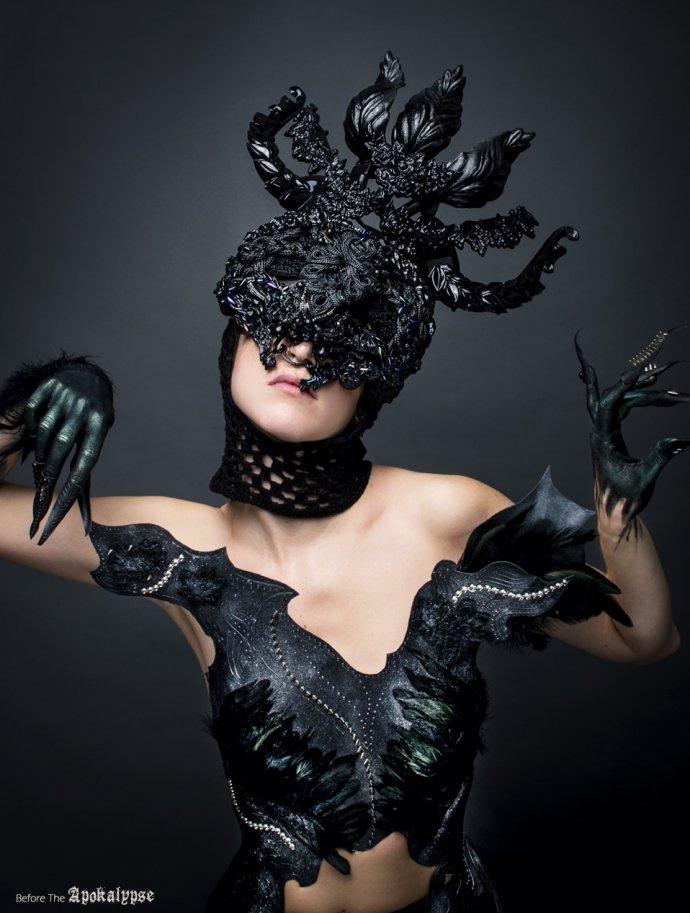 Blue Shadow Fine Art photographer and Creative Director Free Spirit Black headpiece armor