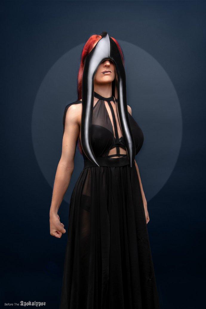 Blue Shadow Fine Art photographer and Creative Director Free Spirit Black mask dress