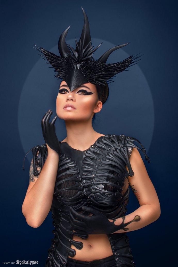Blue Shadow Fine Art photographer and Creative Director Free Spirit Headpiece black armor avant garde asian model