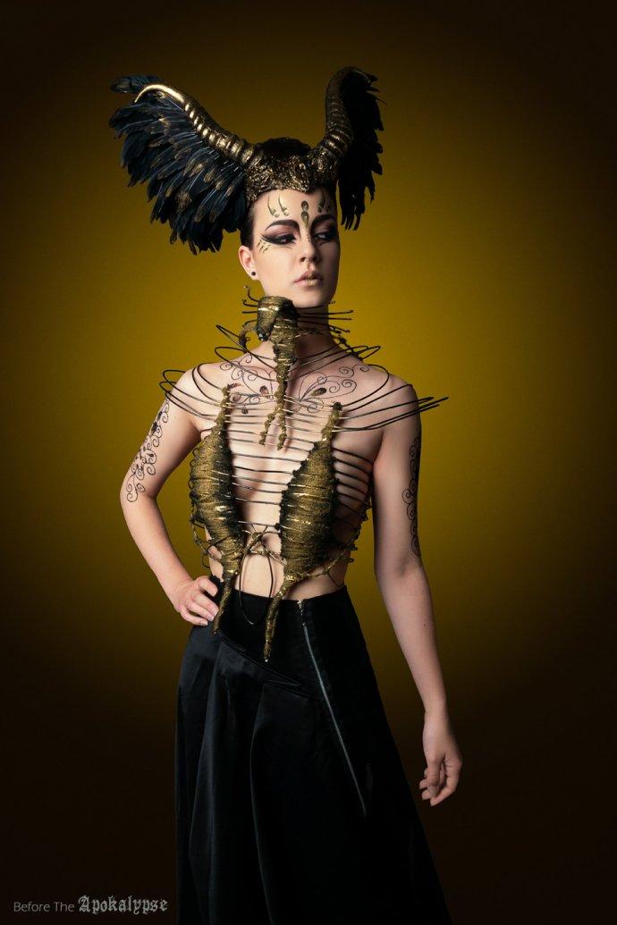 Blue Shadow Fine Art photographer and Creative Director Free Spirit Fashion photography fashion Fraise au Loup headpiece harness hysteria machine