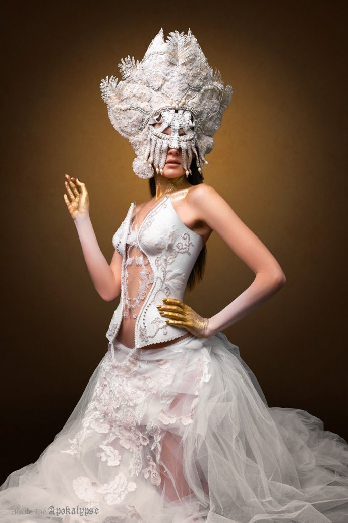 Blue Shadow Fine Art photographer and Creative Director Free Spirit Fashion photography fashion Fraise au Loup headpiece white dress Agniezska Osipa
